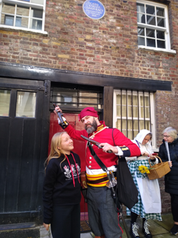 Actor as John Harrison with WCRAG volunteer Lotte Daniel at the Cato Street Conspiracy Bicentenary festival 23 February 2020 | Peter Daniel