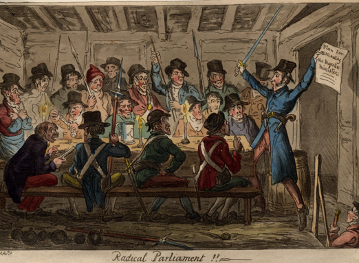 Scene 13: Radical Parliament.  ON the evening of 23rd February 1820 the conspirators gathered in Cato Street to prepare for  their assault on Lord Harrowby's house in Grosvenor Square.   | Westminster Archives - MBN Cuttings Vol 5 p154 - Radical Parliament