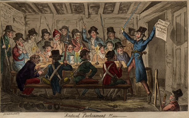Scene 13: Radical Parliament.  ON the evening of 23rd February 1820 the conspirators gathered in Cato Street to prepare for  their assault on Lord Harrowby's house in Grosvenor Square.     Westminster Archives - MBN Cuttings Vol 5 p154 - Radical Parliament