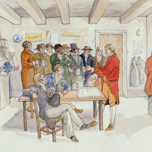Scene 11: Edwards and the Cabinet . Agent  provocateur George Edwards, shows the conspirators gathered at Nell Bristow's pub, The White Lion Inn Covent Garden news of the cabinet dinner at Lord Harrowby's house. | Kate Morton