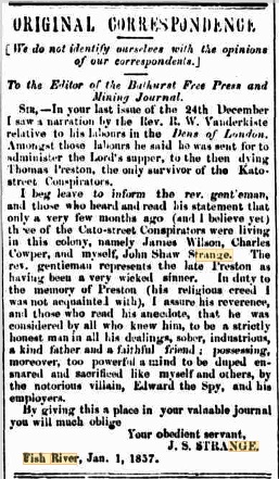 When John Shaw Strange heard that a newspaper in England had written a story about the supposed last surviving member of the Cato Street conspiracy Thomas Preston, he wrote to the paper to assure them that he was still very much alive in Australia. | Bathurst Free Press and Mining Journal. Wed 14 Jan, 1857. Page 2- National Library of Australia