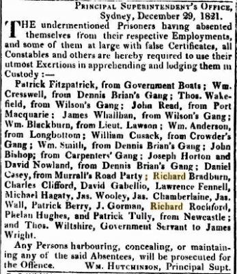A Newspaper dispatch regarding the escape of prisoners in Australia, among them Richard Bradburn. | The Sydney Gazette and New South Wales Advertiser. Sat 29 Dec, 1821.  Page 1 - National Library of Australia