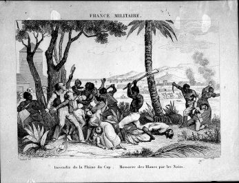 This French drawing depicts the 1791 Haitian Revolution. The caption reads