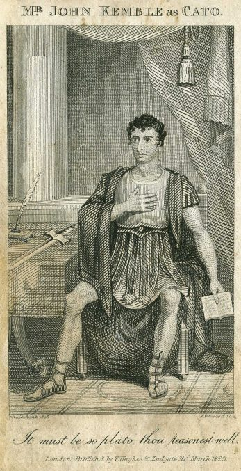 An engraving showing the actor John Kemble, playing the role of Cato in Cato, a Tragedy in 1816 at Covent Garden, London. | Scan by S J Plunkett 2008 from drawing by George Cruikshank engraved by Kirkwood, Public domain, via Wikimedia Commons