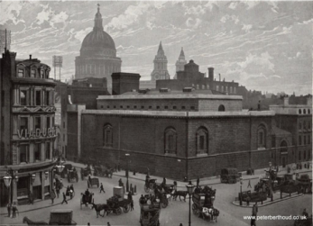 A photograph of Newgate Prison in the 1890's. | Queen's London, Anon, Cassell, 1897.