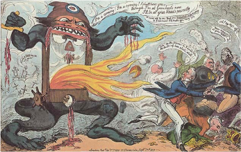 For those who opposed change, the French Revolution provided an easily marketable opportunity to show the masses the dangers of revolution, which is done in this cartoon through the presence of the infamous guillotine. | George Cruikshank,
