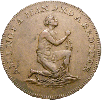 A coin depicting an enslaved man of African descent. The rim of the coin reads