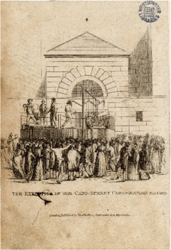 An impression of the execution of the Cato Street Conspirators. | Ashbridge Collection 950 (1746c) Westminster Archives