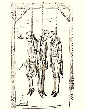 A group of men hanging from the gallows. Hanging was a common punishment for crime throughout medieval and early modern history, and was punishment enough. Unfortunately for those convicted of High Treason, it was only the start of their punishment. | Queen of the Moon, 2nd Edition / Public Domain