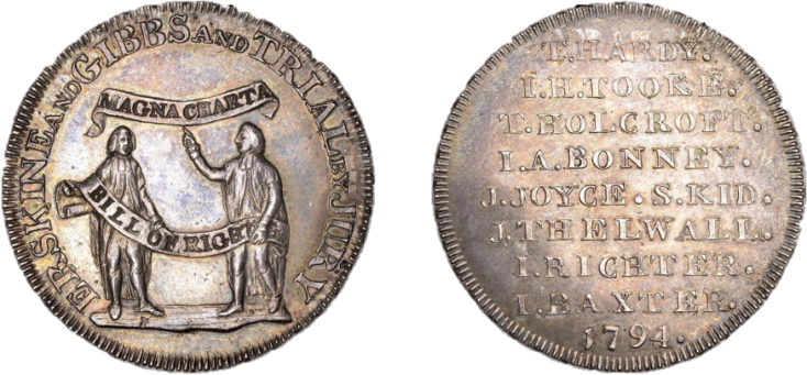 As a way of giving thanks, Spence minted this coin which celebrates Erskine and Gibbs, the lawyers who aided Spence and his allies in court. The front side reads