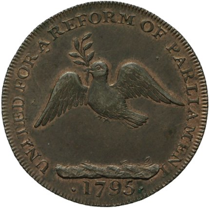 A coin minted in the year 1795. It depicts on it a dove carrying an olive branch, universal signs of peace and peaceful intention. The rim reads
