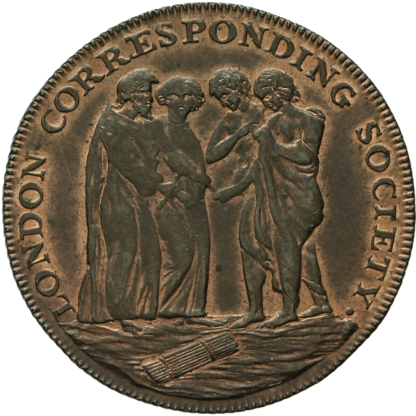 A coin that features 4 figures from antiquity. They stand over a bundle of sticks, known in antiquity as fasces, which represent executive authority. The mutual observance of the fasce by the figures indicates an equality among them. The rim reads,