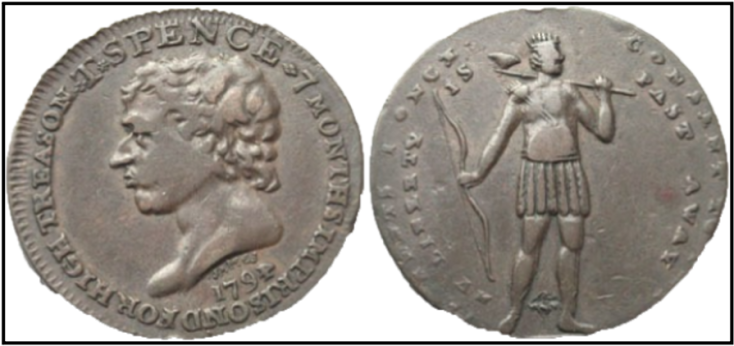 A side profile of Thomas Spence, minted with the phrase