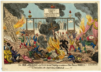 The ideas of Radicals were often regarded with horror by more conservative elements of society. The above work satirizes the ideas of Paine, showing the anarchy that was believed to be inevitable if major change was achieved. | G Cruikshank Tom Paine's Topsy Turvy World 16.10 1819   BM