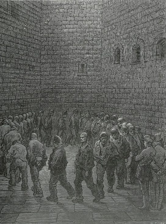 A representation of the exercise yard in Newgate Prison. This area, while still horrible by any standards, at least had an exposed roof which let in fresh air. | Héliodore Pisan after Gustave Doré, Public domain, via Wikimedia Commons