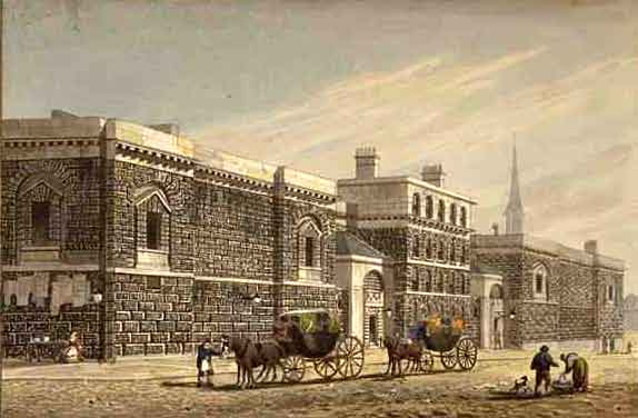 A view of Newgate Prison from the west, circa 1810. | West View of Newgate by George Shepherd, Public domain, via Wikimedia Commons