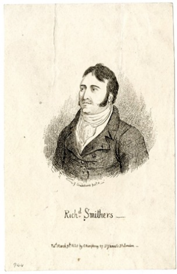 Richard Smithers, the Bow Street officer killed on 21 February 1820 by Arthur Thistlewood. | Richard Smithers British Museum 1978,U.951
