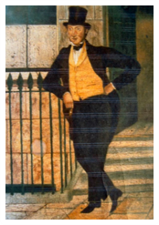 George Ruthven, the principal Bow Street officer and the leader of the 21 February raid. In this illustration he can be seen with his signature yellow waistcoat. | Westminster Archives