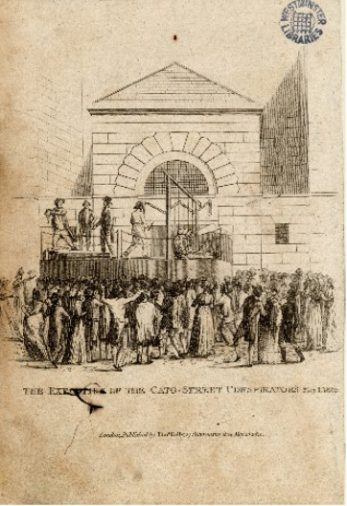 A drawing of the execution of the conspirators. | Ashbridge Collection 950 (1746c)  Westminster Archives