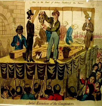 Another illustration of the conspiracy. The audacious plan was scandalous, and as such occupied a large portion of newspapers across the country for some time, climaxing with their execution. | Awful Execution of the Conspirators (1820)