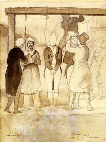 A ink-and-wash sketch of the Cato Street hanging by French Revolutionary artist Géricault. Géricault was an artist who painted the most marginalised people in French society: the mentally and physically sick, the poor and the criminal. The pity, empathy, for these failed revolutionarires seems to have drawn his to the subject. The Rouen museum catalogues it as 'Le supplice' (the 'torment' or 'agony') and dates it '1820-1824'. They do not attribute it to the Cato Street Conspiracy as only three men hang here and we know that they were also decapitated. However, Cambridge historian Vic Gattrell believes it depicts the Cato Street executions. He points out that this was only a sketch for a larger work that was never begun, and that Géricault wasn't reporting, but merely playing with ideas in his own notebook. Géricault was in London as his famous 'The Raft of the Medusa' was being exhibited in London in June 1820 at William Bullock's Egyptian Hall in Piccadilly. Incredibly, he lodged in Edgware Road a minute or two from Cato Street itself. He would certainly have known the story intimately. Finally, the fixed stare of the figure on the left as to be Thistlewood is so similar to Wivell's engraving, here, which must have been its model. | © Museums of the City of Rouen