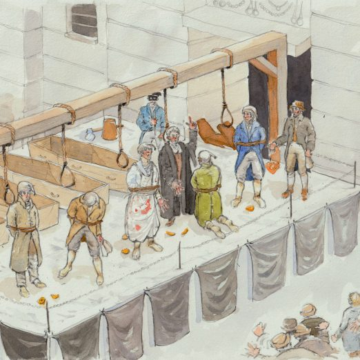 A painting showing the execution of the conspiracists. Hobhouse and his son can be seen in the bottom right corner. | Kate Morton