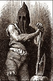 A fictitious representation of Ketch, in full executioner garb.