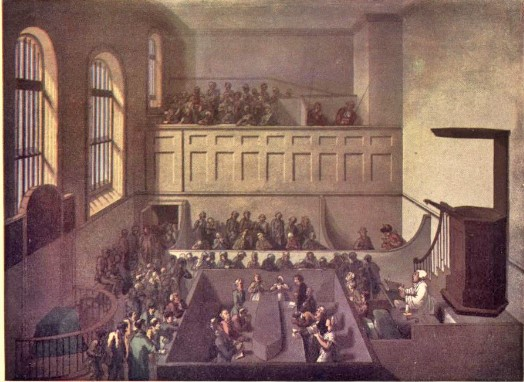 A prayer service taking place in Newgate. This was typical procedure under Rev. Cotton. | The Condemned Service at Newgate Chapel, by Thomas Rowlandson,  from Microcosm of London; or, London in miniature