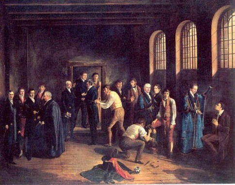 A scene depicting the specific events preceding the planned execution of Henry Fauntleroy, 4 years after the execution of the conspiracists. Contrary to the name of the painting, Fauntleroy had his sentenced reduced to transportation. | The Upper Condemned Cell at Newgate Prison on the Morning of the Execution of Henry Fauntleroy by W Thomson 1828                   Museum of London