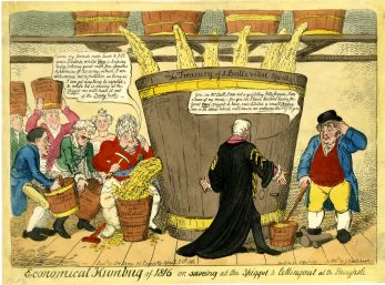 Economical humbug of 1816 or, saveing at the spiggot & letting out at the bunghole. George Cruikshank 1816 British Museum 1859,0316.116 | 1816 British Museum 1859,0316.116