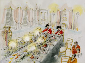 Scene 8: the Extravagant Prince Regent-John Harrison digs into leftovers at the conclusion of the Regency Fete June 1811 | Kate Morton