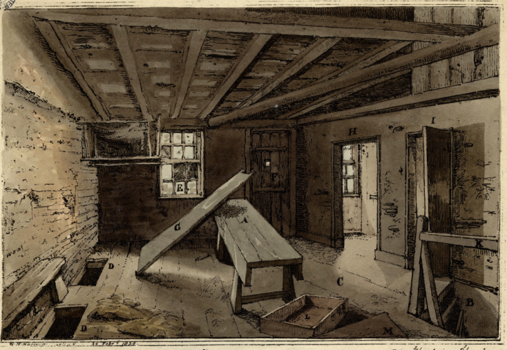 Upper floor of Cato Street barn sketched in 1820 Ashbridge Collection Westminster Archives | Ashbridge Collection Westminster Archives