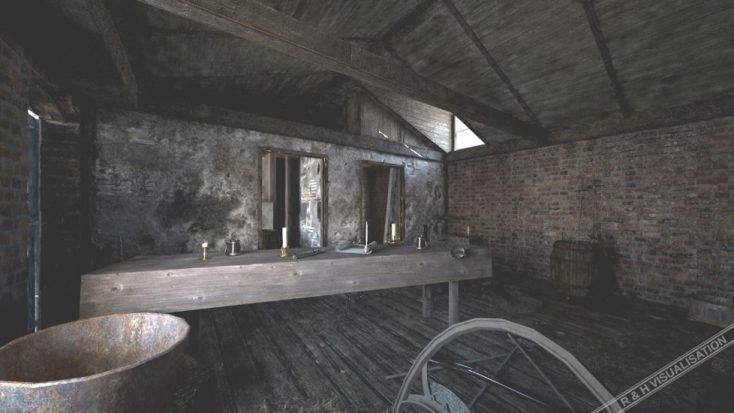 RH Viz recreated the upper floor of the barn from archive images. | RH Viz Rob Nutter