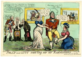 Polly and Lucy taking off the restrictions Regent and Fitzherbert George Cruikshank 1812   British Museum