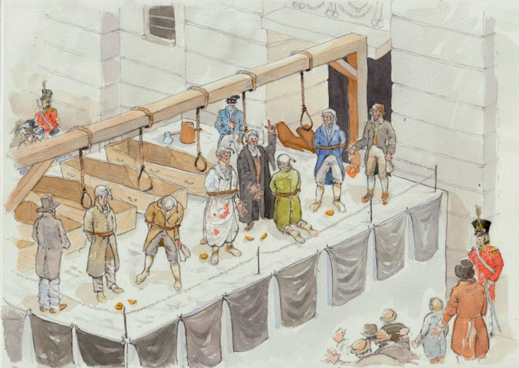 John Cam Hobhouse, MP for Westminster narrowly escaped arrest with the conspirators.  He took his son to watch his friends execution outside Newgate Prison, 1st May 1820. | Kate Moton