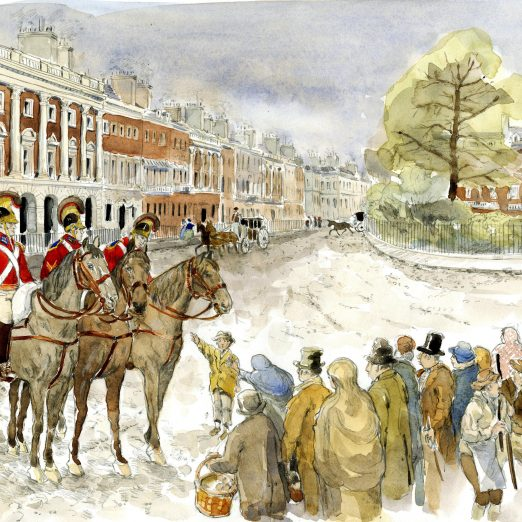 Scene 7: Harrison in Grosvenor Square-John Harrison and his Life Guards comrades were forced to stand guard over Grosvenor Square to protect its aristocratic residence from poor, hungry Londoners angry with how their country was being run   Kate Morton