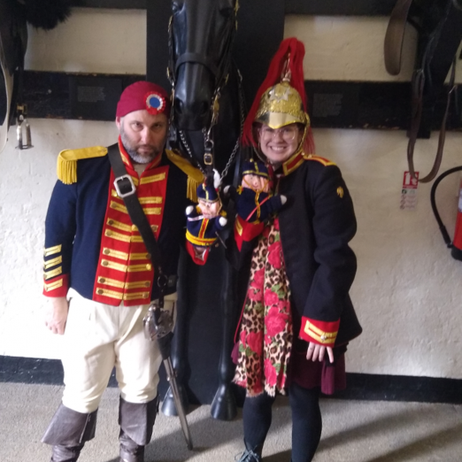 Volunteer Amber Hederer researched each soldiers story to facilitate the session at the Household Cavalry Museum with Robert Adams actor   Peter Daniel