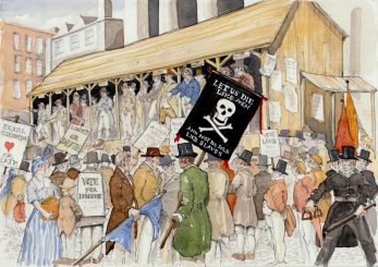 Scene 10; the Covent Garden Hustings William Davidson supported John Cam Hobhouse for Westminster MP at the December, 1818 hustings for the Westminster by election.  he carried a cross-and-skull-bones banner. | Kate Morton
