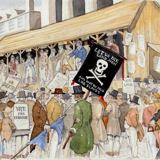 Scene 10; the Covent Garden Hustings William Davidson supported John Cam Hobhouse for Westminster MP at the December, 1818 hustings for the Westminster by election.  he carried a cross-and-skull-bones banner.   Kate Morton