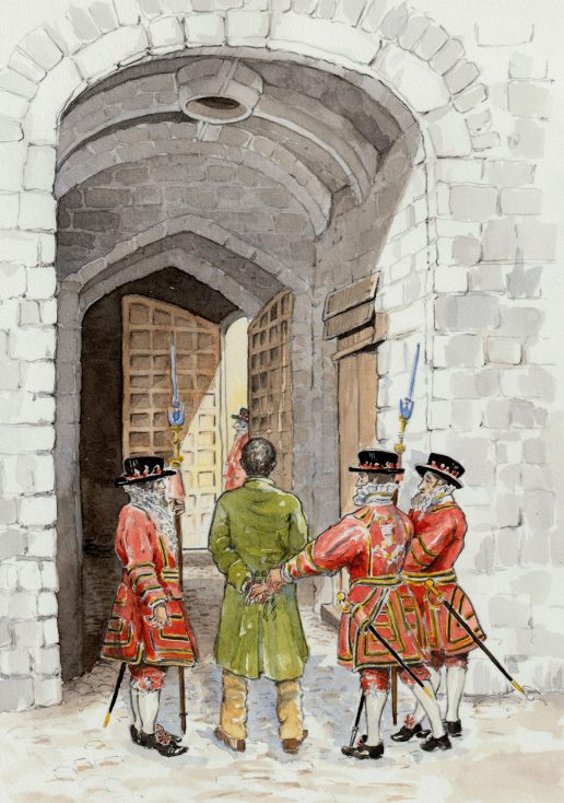 William Davidson is led by the Yoeman Warders to his cell above Traitor's Gate imprisoned at the Tower of London after his arrest at Cato Street on February 23rd 1820   Kate Morton