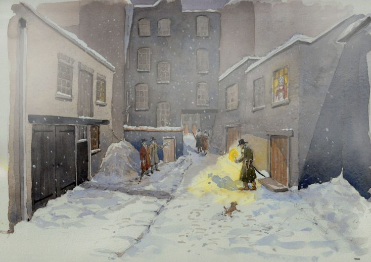 Scene 14: A Light of Hope in the Dark. William Davidson stands guard outside the conspirators Cato Street hideout after obtaining a light from neighbour Elisabeth Westall February 23 1820 | Kate Morton