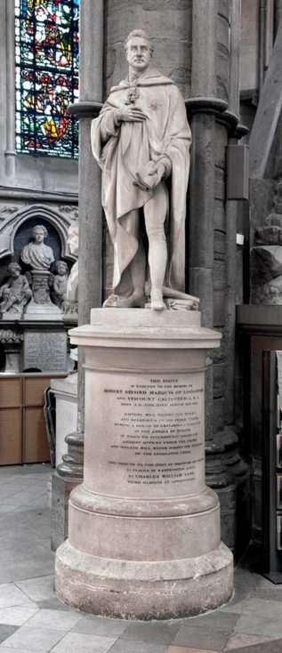 Lord Castlereagh is buried beneath his statue at Westminster Abbey despite Anglican rules forbidding the burial of suicides on hallowed ground.   Westminster Abbey