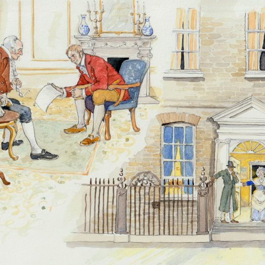 Scene 12: George Edwards Sidmouth's Spy.  George Edwards betrayed hthe conspirators to Home Secretary Lord Sidmouth. William Davidson went to Lord Harroby's house to confirm details about the cabinet dinner.  He was shocked to discover that Harrowby was not even at home. | Kate Morton