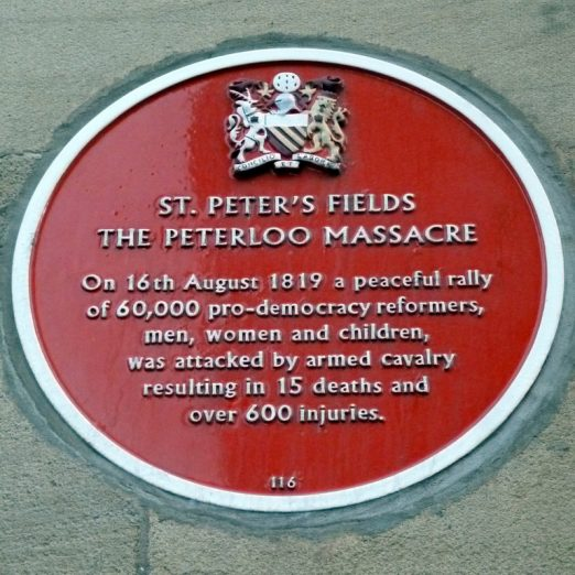 Scene 9: The Marylebone Reading Room- William learnt about Peterloo by reading the newspapers at the Marylebone reading Room. City of Manchester plaque commemorating the Peterloo Massacre August 16, 1819.   WCRAG