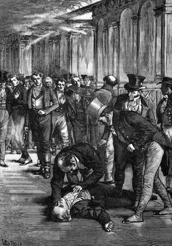 1909 Print of the Aftermath of Spencer Perceval's Assassination